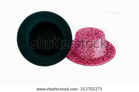 Pink metallic party hat isolated on the white background. - stock photo