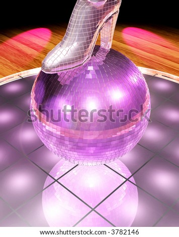 pink mirrorball and mirrorboots - stock photo