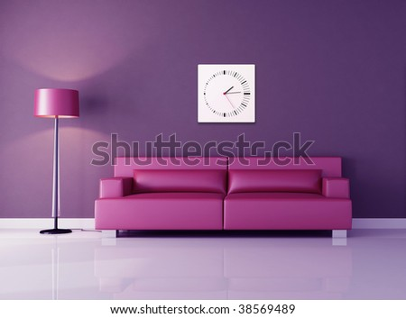 pink modern couch against purple wall - rendering - stock photo