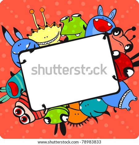 Pink monster frame (raster version) - stock photo