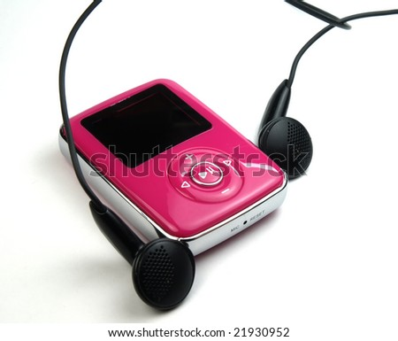 pink mp3 over a white background - stock photo