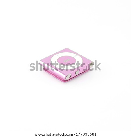 pink mp3 player isolated on white background - stock photo