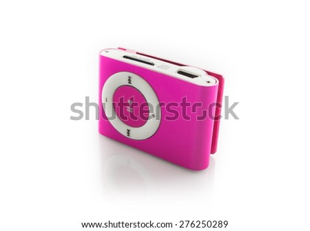 pink mp3 player isolated on white background