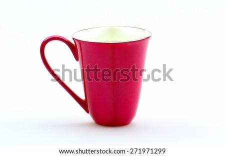 Pink mug on a white background - stock photo