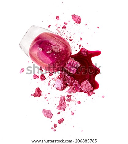 Pink nail polish with crushed eye shadow isolated on white background
