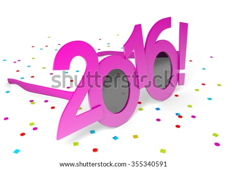 Pink 2016 New Year party glasses and scattered confetti - stock photo