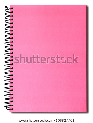 Pink notebook isolated on white background - stock photo