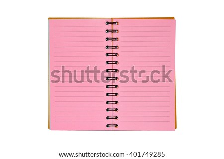 Pink notebook isolated on white background with clipping path. - stock photo