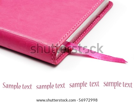 Pink notebook on a pure white background with space for text - stock photo
