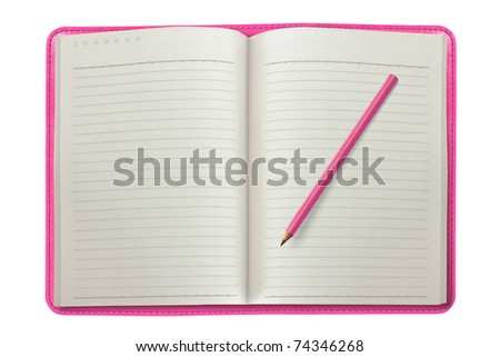pink notebook with a pencil - stock photo