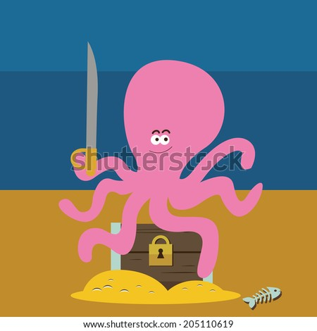 Pink octopus and chest with gold Raster version - stock photo