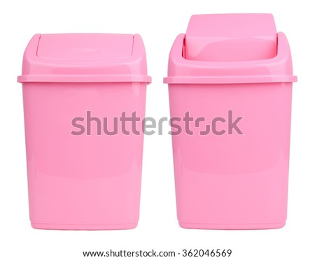 Pink office trashcan isolated on white background - stock photo