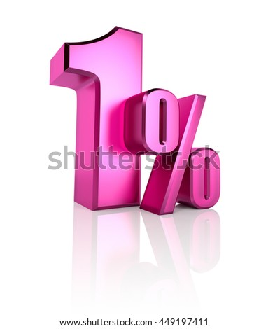 Pink one percent sign isolated on white background. 3d rendering - stock photo