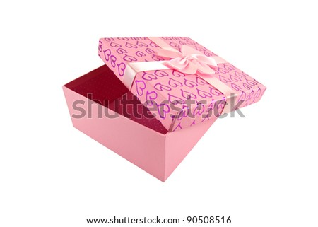 Pink open box on white background, clipping path inside - stock photo