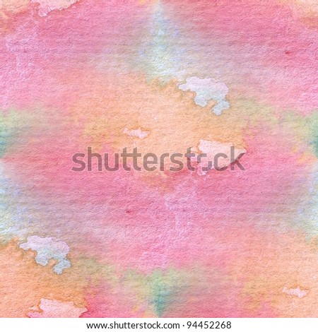 Pink & Orange Seamless Watercolor - stock photo