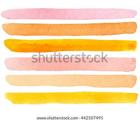 Pink, orange, yellow, water-color stripes on a white background - stock photo