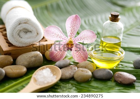 Pink orchid and stones, oil, towel ,salt in spoon on wet banana leaf - stock photo