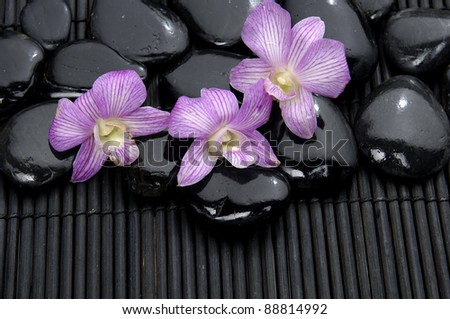 pink orchid with zen pebbles on bamboo mat - stock photo