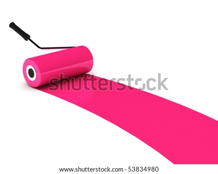 Pink paint roller isolated on white background. High quality 3d render. - stock photo