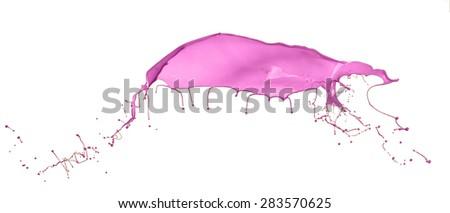 Pink paint splashing isolated on white background - stock photo