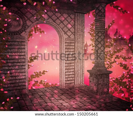 Pink Palace Interior Background - stock photo