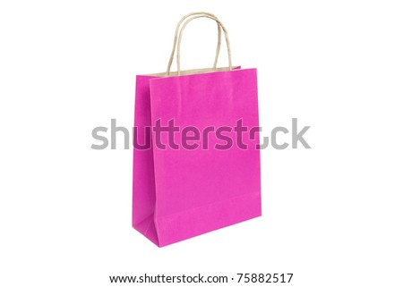 Pink paper bag ready for shopping, isolated on white background - stock photo