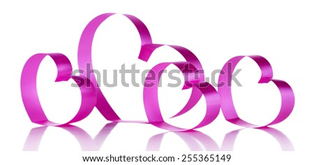 Pink paper hearts isolated on white - stock photo