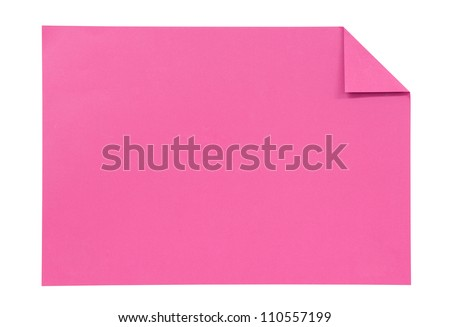 pink paper isolated on white - stock photo