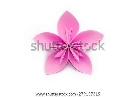 Pink paper origami flower on white background - stock photo