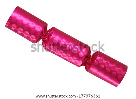 Pink party cracker isolated on white