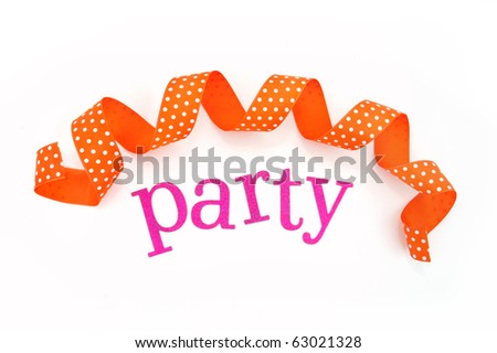 Pink PARTY letters and a curled orange ribbon