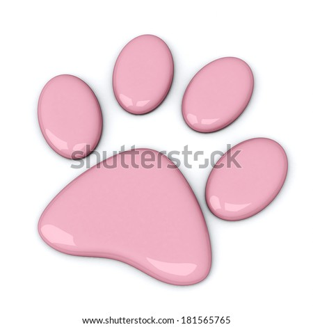 Pink paw, 3d - stock photo