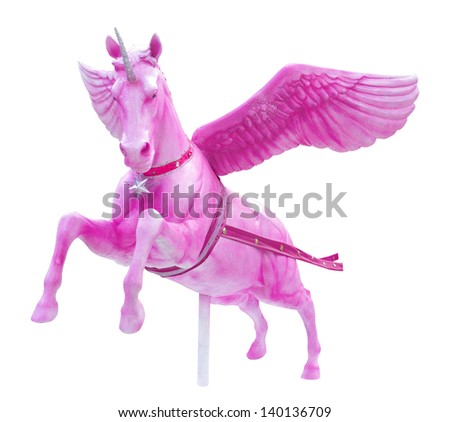 Pink Pegasus  horse statue isolated - stock photo