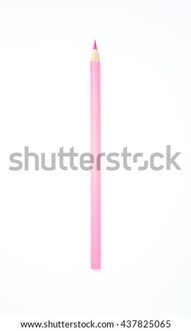 Pink pencil on white background - stock photo