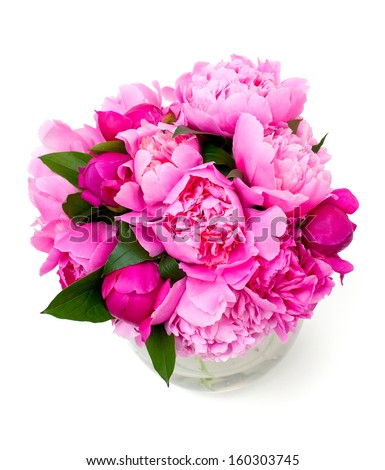 pink peonies in a green vase