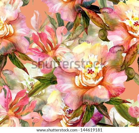 Pink Peonies Seamless Pattern - stock photo