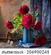 Pink peonies still life - stock photo