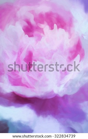 Pink peony bloom turned into a colorful abstract painting - stock photo