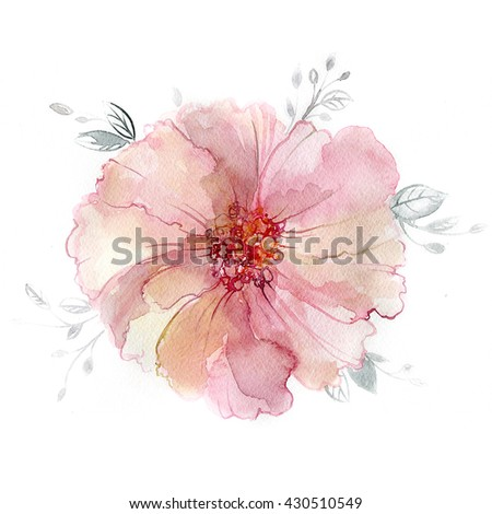 Pink peony flower in watercolor paintings. Luxurious flower painted in pastel colors. - stock photo