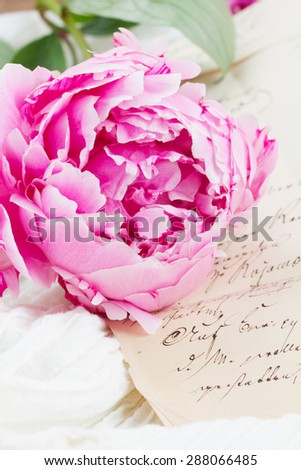 Pink peony with vintage letter on white lace background - stock photo
