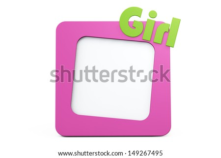Pink Photo Frame with Girl Sign on a white background - stock photo