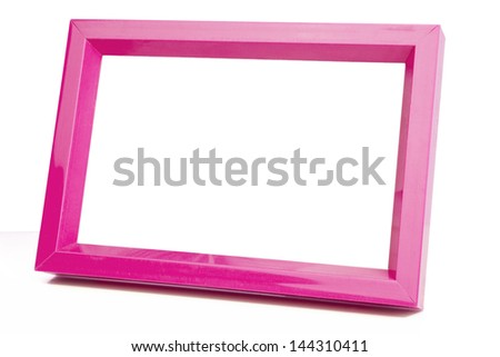 pink picture frame isolated on white background - stock photo