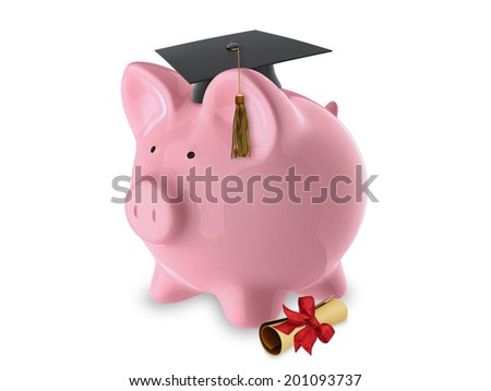 pink pig bank graduation hat diploma stock illustration  pink pig bank graduation hat and diploma