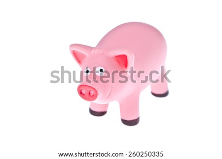 Pink pig on a white background - stock photo