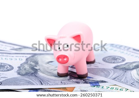 Pink pig on the new 100 dollar bills, over white