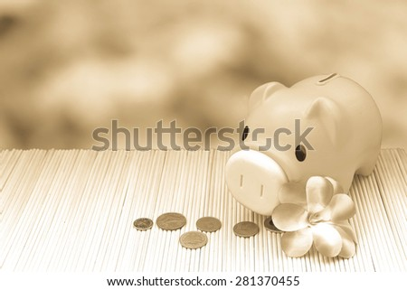 pink piggy bank and coin on blur green leaves background - stock photo