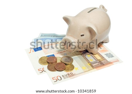 Pink piggy bank and euro currency isolated on white