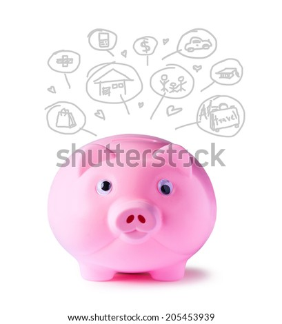 Pink piggy bank and icons design to represent the concept of saving money  - stock photo