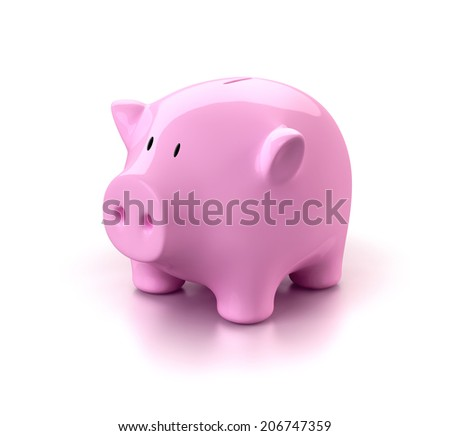 Pink piggy bank isolated.