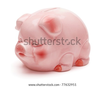 Pink piggy bank, isolated on the white background, clipping path included. - stock photo